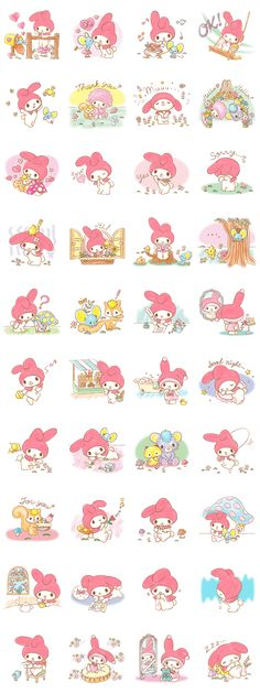 My Melody and her friends from Melody Land are now on LINE. These stickers are cuter than a box of puppies - download them today and give them a good home.