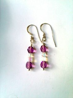 Amethyst Beaded Earrings with Aurora by EnchantedCrystalDsgn Crystal Earrings, Beaded Earrings, Drop Earrings, Crystal Design, Crystal Healing, Enchanted, Aurora, Nice Dresses, Gifts For Her