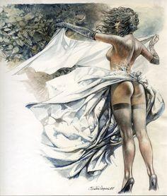 Nothing more than veils - Illustration by Paolo Serpieri Fantasy Comics, Fantasy Art, Serpieri, Cartoon Painting, Comic Kunst, Bd Comics, Art Et Illustration, Fantasy Women, Sexy Cartoons