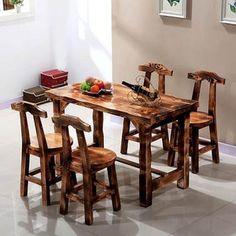 碳化木餐桌椅庭院户外实木桌椅凳套件酒吧餐厅饭店咖啡厅仿古批发