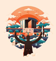 Flat illustration, beautiful art of a composer and music. BBC SSO 2015/16 on Behance