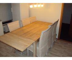 Spisebord m/stole, egetræ, Spisebord m/stole, Massivt træ
