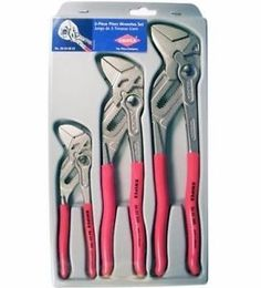 """Knipex Tools 002006US2 Cobra 3 Piece Plier Set 7"""", 10"""" & 12"""" Pliers"""