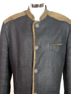Austrian Vintage Trachten Jacket, Black Linen Brown Suede Trachten Hiking Jacket, Traditional Bavarian Folk Walking Jacket: Size 44 US/UK by YouLookAmazing on Etsy