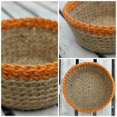 Crocheted Jute Bowl Plant Pot Holder Crochet by HomeDecorLab