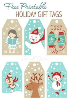 Adorable FREE Printable Holiday Gift Tags | Sarah Titus - The BEST Christmas and Holiday FREE Printables - Gift Tags - Gift Card Holders - Christmas Greeting Cards and more FREE Downloadable Printables for the Holiday Seasons