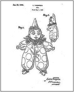 Thompson Clown Doll Patent Drawing