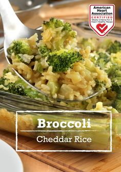 Broccoli Cheddar Rice — Baked until hot and bubbling, this fabulous casserole is chock full of flavor and ready in just one hour! Heart-Check Certification does not apply to recipes or information reached through links unless expressly stated.