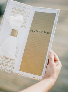 12 Clever Ceremony Program Ideas: tuck handkerchiefs into your programs for guests to dry their happy tears | Photo: Esther Sun Photography