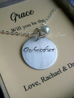 Godmother Handstamped Necklace Other Color Pearl by buysomelove, $15.00