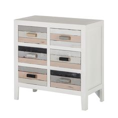 Commode Shabby's Chic - met 6 lades used look voorkant