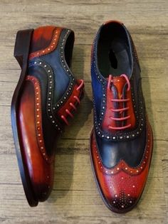 New Handmade Men Two tone wing tip formal shoes, Men Blue and Red brogue shoes - Dress/Formal Tan Shoes, Lace Up Shoes, Casual Shoes, Shoe Boots, Oxford Shoes, Dress Shoes, Shoes Men, Dress Clothes, Shoes Style