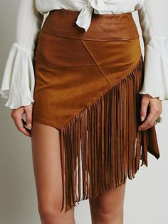 Cute western skirts to wear with cowboy boots - Think Pink Vegan Fashion, Ethical Fashion, Boho Fashion, Fashion Outfits, Womens Fashion, Fashion News, Free People Clothing, Suede Mini Skirt, Bohemian Mode