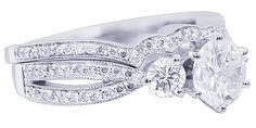14k white gold round cut diamond engagement ring and by KNRINC, $4199.00