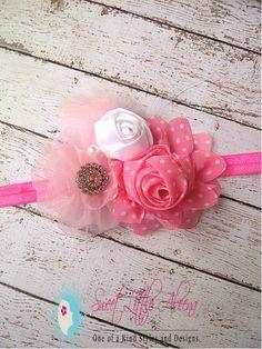 Pink White Flower Infant HeadbandsBaby Girls by SweetLittleAleena, $12.99