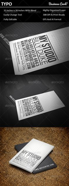 Typo Business Card #GraphicRiver This time I'll introduce you the new business card design suitable for any agency, company and studio. Yes, also for personal use. Features: 1. EPS format 2. AI Format (CS3, CS4 and CS5) 3. 3.5 inches X 2.0 inches with bleed 4. Print and bleed ready 5. Fully Editable Font Used: 1. Standard Rockwell 2. Standard Century Gothic 3. Bebas Neue - .fontsquirrel /fonts/bebas-neue Created: 27January12 GraphicsFilesIncluded: VectorEPS Layered: Yes…