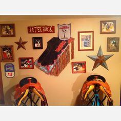 One of the trophy walls in our house where we used a pair of my husbands old chaps that had gotten torn up during a ride so glad we kept them now!!!