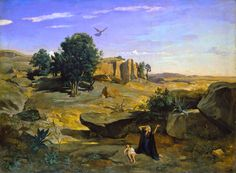 Camille Corot - Hagar in the Wilderness [1835]  #19th #Angel #Camille #Corot #Classic #Painting
