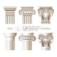 pilier: colonnes stylisées et réalistes dans des styles différents - ionique, dorique, corinthien - pour vos conceptions architecturales Illustration