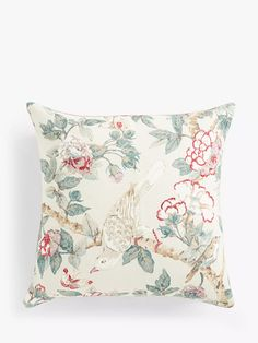 Sanderson Calverley Rose Cushion, Pewter at John Lewis & Partners Floral Sofa, Floral Cushions, Sanderson Fabric, Shell Station, John Lewis Shops, Bird Perch, Cushion Filling, Home Collections, Cotton Linen