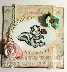 Handmade Greeting Card- Whimsy Stamps & Trimcraft Papers