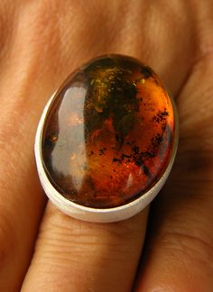 Amber Ring, Baltic Amber and Sterling Silver Ring, dark orange  cognac Amber Ring, Amber Jewelry, big Ring, Birthstone Ring von JewellerWithSoul auf Etsy