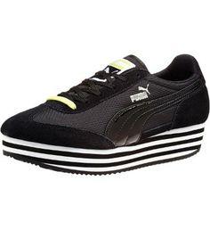 SF77 Platform Women's Sneakers in black #PUMA #PUMAstyle #SF77 #platforms