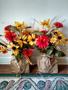 Fall flowers in paper bag as a vase.  SW