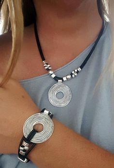 Set of leather necklace leather Bracelet Set Boho Ring