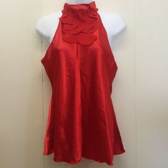 B Wear MEDIUM Shirt Top Blouse Red Ruffled Silky NWT Valentines Day Holiday #BWear #Halter #EveningOccasion