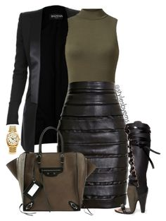 """Untitled #455"" by emsdash ❤ liked on Polyvore featuring Balmain, Balenciaga and Rolex"