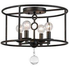 Cameron Bronze Flushmount Crystorama Ceiling Light