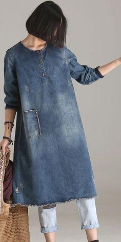 VINTAGE CASUAL BLUE DENIM DRESSES WOMEN FALL OUTFITS Q9505