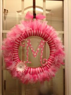 Monogrammed tulle wreath Tutu wreath Girly by TayandJaeCreations1, $40.00