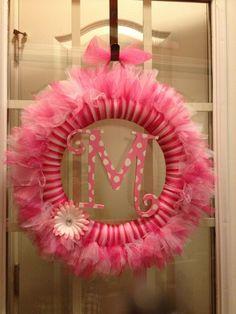 Monogrammed tulle wreath Tutu wreath Girly by TayandJaeCreations1, $40.00