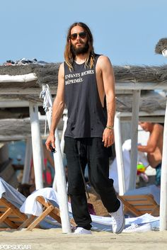 Jared Leto sported a thick beard in Saint Tropez.