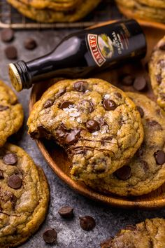 Baileys Irish Cream Chocolate Chip Cookies - Baker by Nature - - Love Baileys Irish Cream? These Baileys Irish Cream Chocolate Chip Cookies are for you! They bake up thick, chewy, and super flavorful! Cookie Recipes, Dessert Recipes, Recipes Dinner, Cookie Ideas, Pumpkin Recipes, Easy Appetizer Recipes, Shrimp Recipes, Salmon Recipes, Crockpot Recipes