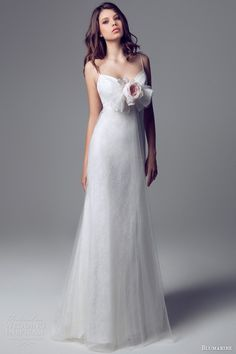 Blumarine Bridal - 2013/2014 - Empire Waist Lace Gown with Tulle Overlay, Flower Accent, and Spaghetti Straps