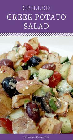Healthy, no mayo, grilled Greek Potato Salad Recipe with creamy feta cheese via @summerprice1