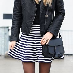 Striped girly skirt with biker jacket and a matching leather bag - Now available on www.my-jewellery.com   #stripe #girly #skirt #blue #white #leather #jacket #small #bag #black #outfit #fashion #myjewellery