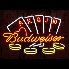 """BUDWEISER POKER NEON SIGN-NN5BUDPO  24"""" wide, 20""""high, 4"""" deep  Highlight your bar or game room with this Budweiser Poker Neon Sign, featuring multi-colored, hand blown tubing supported on a black, finished metal grid. The Budweiser Poker Neon Sign can be displayed flat on a wall or in a window or alternately be placed upon a shelf."""