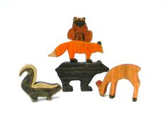 wooden waldorf forest animal toy  woodland by outsideeverywhere, $42.00
