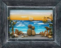 "Pebble Art, Rock Art, Pebble Art Couple, Rock Art Couple, beach, ocean, honeymoon, vacation, wedding, ""open"" 5x7 frame (FREE SHIPPING)"