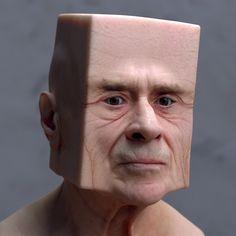Lee Griggs est un designer et artiste numérique basé à Madrid en Espagne. Dans cette série de portraits baptisée « Deformations », il utilise le logiciel Arnold pour déformer, étirer et triturer des visages.  Le rendu est étrange et dérangeant, on retrouve les éléments principaux qui le composent comme les yeux, la bouche, le nez et même le grain de la peau, mais l'aspect final reste troublant.