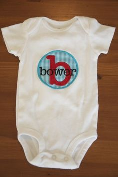 Personalized Baby Onesie for Boys by neelybugboutique on Etsy, $12.00. LOVE personalized baby stuff.