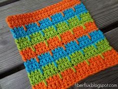 This is a fun dishcloth pattern. Great for beginners. Fiber Flux...Adventures in Stitching: Free Crochet Pattern...Bahama Stripe Dishcloth