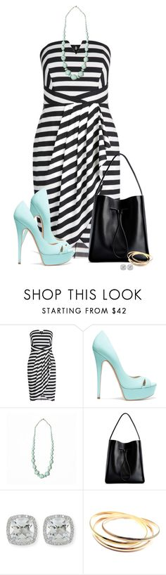 """Striped black & White Strapless Dress"" by colierollers ❤ liked on Polyvore featuring Casadei, 31 Bits, 3.1 Phillip Lim, Frederic Sage and Cartier"