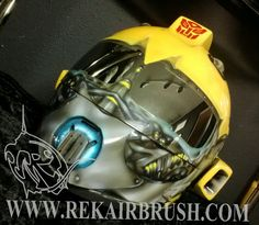TRANSFORMERS BUMBLEBEE Custom airbrushed motorcycle helmet, HCI 75, Bell Arrow, Speed and Strength, ARAI, ICON and Bandit helmets by REKAIRBRUSH