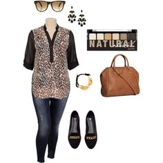 """Leopard Blouse Casual-Plus Size Outfit"""