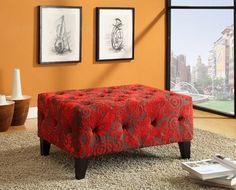 Armen Living Blake Tufted Ottoman in Red Flower Velvet Fabric